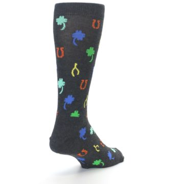 Image of Charcoal Multi Lucky Men's Dress Socks (side-1-back-20)