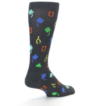 Image of Charcoal Multi Lucky Men's Dress Socks (side-1-back-21)