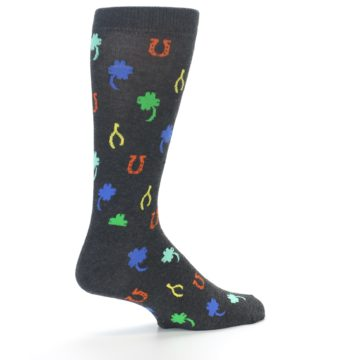 Image of Charcoal Multi Lucky Men's Dress Socks (side-1-back-22)