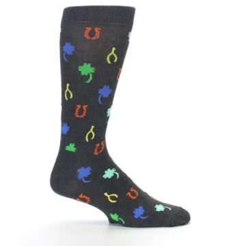 Image of Charcoal Multi Lucky Men's Dress Socks (side-1-24)