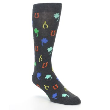 Image of Charcoal Multi Lucky Men's Dress Socks (side-1-27)
