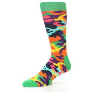 Image of Green Multi Camo Men's Dress Socks (side-2-09)
