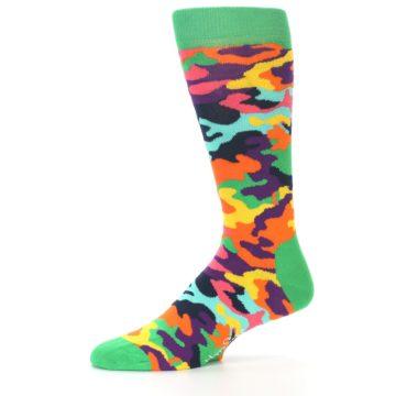 Image of Green Multi Camo Men's Dress Socks (side-2-10)