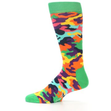 Image of Green Multi Camo Men's Dress Socks (side-2-11)