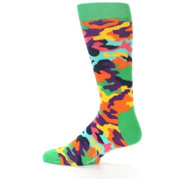Image of Green Multi Camo Men's Dress Socks (side-2-12)