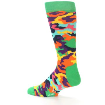 Image of Green Multi Camo Men's Dress Socks (side-2-13)