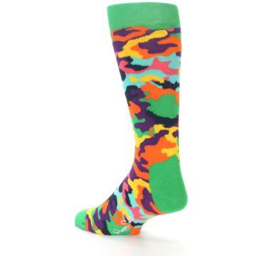 Image of Green Multi Camo Men's Dress Socks (side-2-back-14)