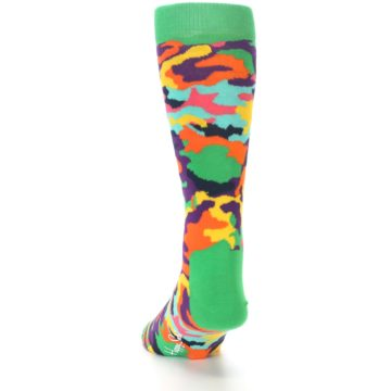 Image of Green Multi Camo Men's Dress Socks (side-2-back-16)