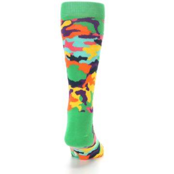 Image of Green Multi Camo Men's Dress Socks (back-18)