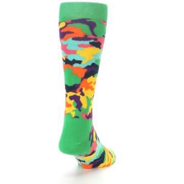 Image of Green Multi Camo Men's Dress Socks (back-19)