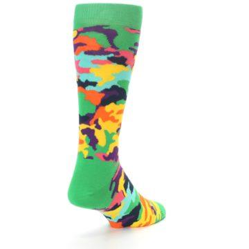 Image of Green Multi Camo Men's Dress Socks (side-1-back-20)