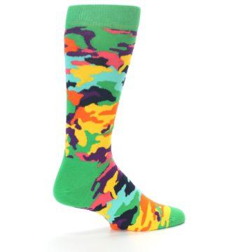 Image of Green Multi Camo Men's Dress Socks (side-1-back-22)