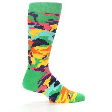 Image of Green Multi Camo Men's Dress Socks (side-1-23)