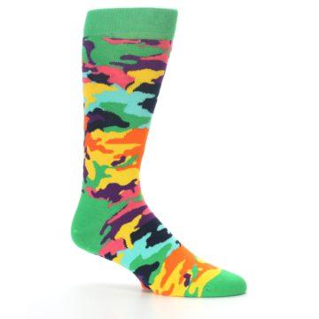 Image of Green Multi Camo Men's Dress Socks (side-1-25)