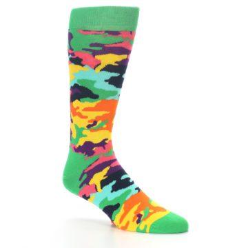 Image of Green Multi Camo Men's Dress Socks (side-1-26)