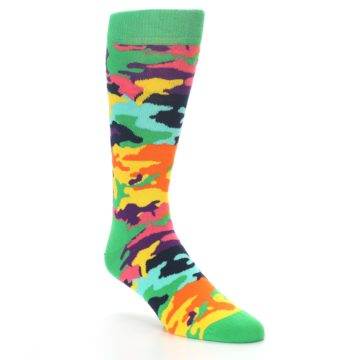 Image of Green Multi Camo Men's Dress Socks (side-1-27)