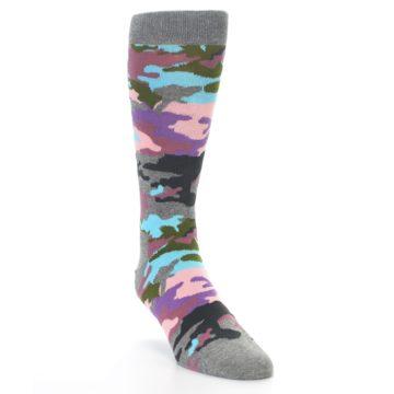 Image of Grey Pastel Camo Men's Dress Socks (side-1-front-02)