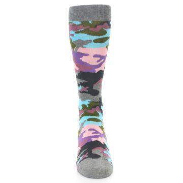 Image of Grey Pastel Camo Men's Dress Socks (front-04)