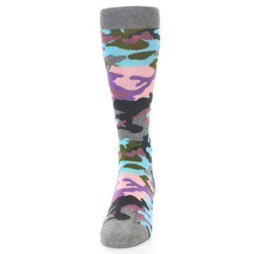 Image of Grey Pastel Camo Men's Dress Socks (front-05)