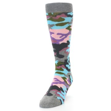 Image of Grey Pastel Camo Men's Dress Socks (side-2-front-06)