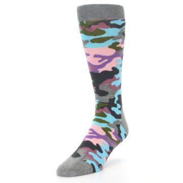 Image of Grey Pastel Camo Men's Dress Socks (side-2-front-07)