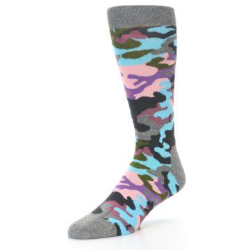 Image of Grey Pastel Camo Men's Dress Socks (side-2-front-08)