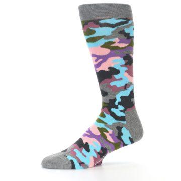 Image of Grey Pastel Camo Men's Dress Socks (side-2-10)
