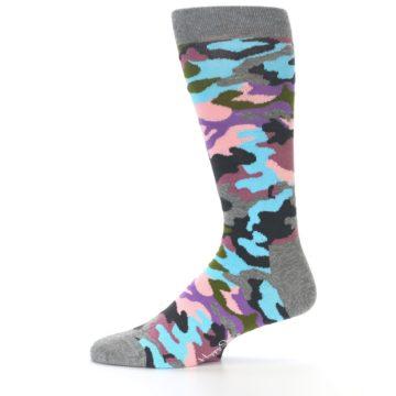 Image of Grey Pastel Camo Men's Dress Socks (side-2-11)