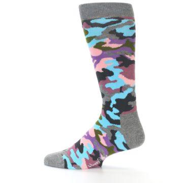 Image of Grey Pastel Camo Men's Dress Socks (side-2-12)