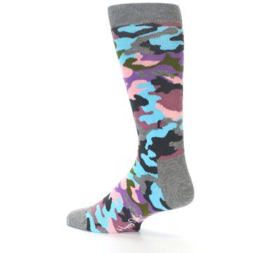 Image of Grey Pastel Camo Men's Dress Socks (side-2-13)