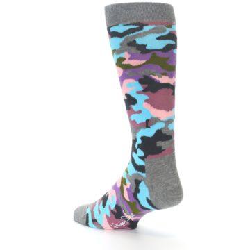 Image of Grey Pastel Camo Men's Dress Socks (side-2-back-14)