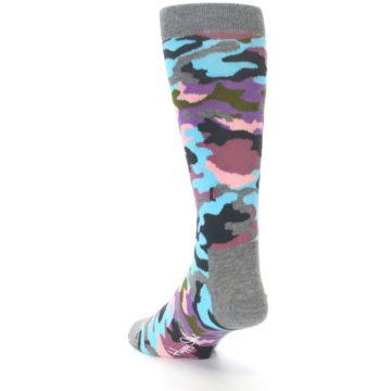 Image of Grey Pastel Camo Men's Dress Socks (side-2-back-15)
