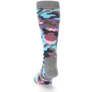 Image of Grey Pastel Camo Men's Dress Socks (side-2-back-16)