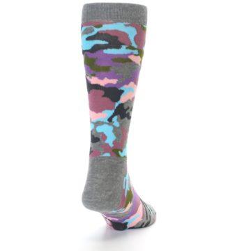 Image of Grey Pastel Camo Men's Dress Socks (back-19)
