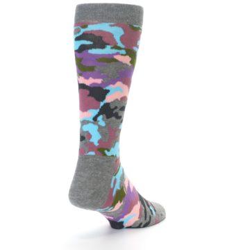 Image of Grey Pastel Camo Men's Dress Socks (side-1-back-20)