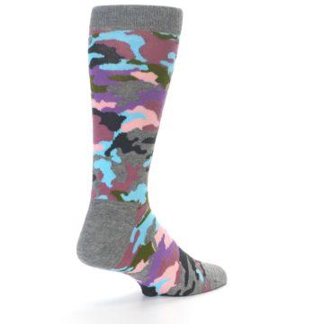 Image of Grey Pastel Camo Men's Dress Socks (side-1-back-21)