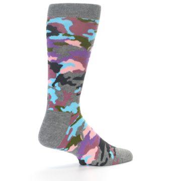 Image of Grey Pastel Camo Men's Dress Socks (side-1-back-22)
