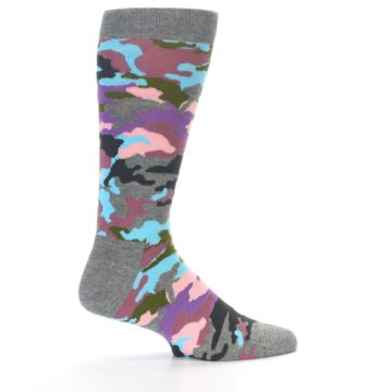 Image of Grey Pastel Camo Men's Dress Socks (side-1-23)