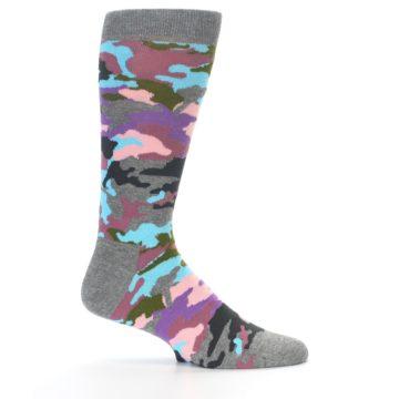 Image of Grey Pastel Camo Men's Dress Socks (side-1-24)