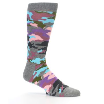 Image of Grey Pastel Camo Men's Dress Socks (side-1-25)