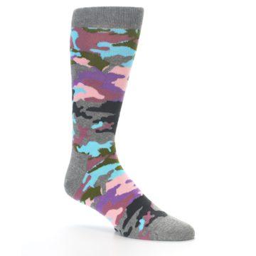 Image of Grey Pastel Camo Men's Dress Socks (side-1-26)