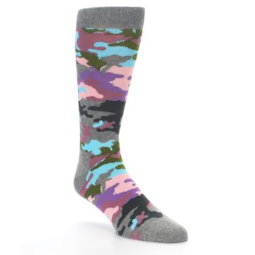Image of Grey Pastel Camo Men's Dress Socks (side-1-27)