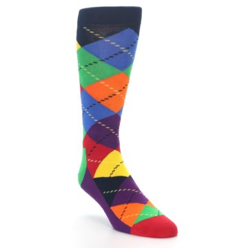 Image of Bright Multi Argyle Men's Dress Socks (side-1-front-02)