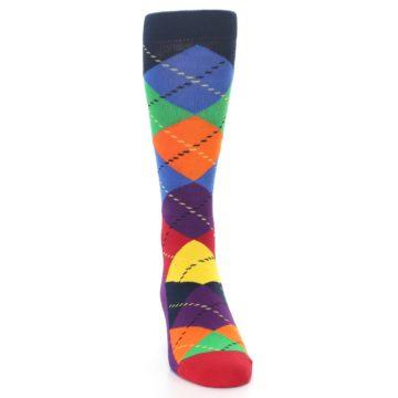 Image of Bright Multi Argyle Men's Dress Socks (front-04)