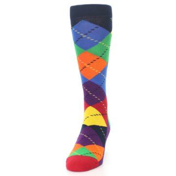 Image of Bright Multi Argyle Men's Dress Socks (side-2-front-06)