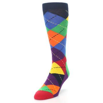 Image of Bright Multi Argyle Men's Dress Socks (side-2-front-07)