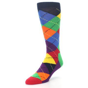 Image of Bright Multi Argyle Men's Dress Socks (side-2-front-08)