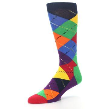 Image of Bright Multi Argyle Men's Dress Socks (side-2-09)