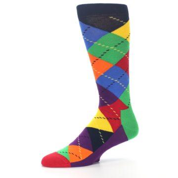 Image of Bright Multi Argyle Men's Dress Socks (side-2-10)