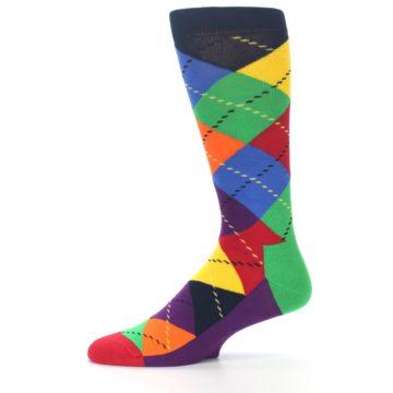 Image of Bright Multi Argyle Men's Dress Socks (side-2-11)